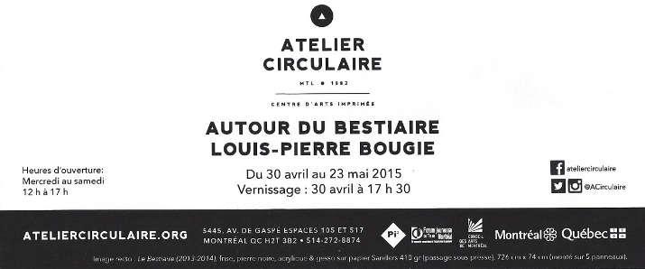 Invitation à l'Atelier circule pour l'exposition Autour du bestiaire de Louis-Pierre Bougie